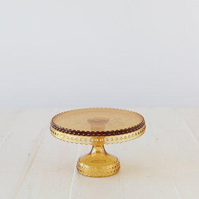 Hobnail Cake Stand &#8211; Amber 22cm