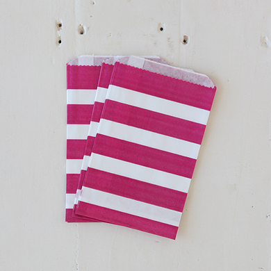 Pink Stripe Favour Bag