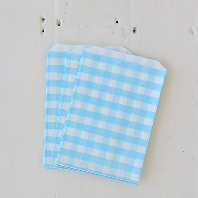 Gingham Favour Bag – Blue