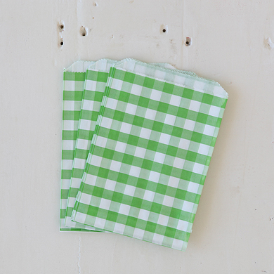 Gingham Favour Bags – Green