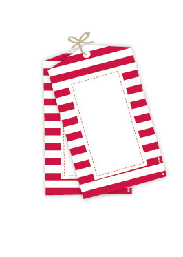 Sambellina Gift Tag Candy Stripe Red