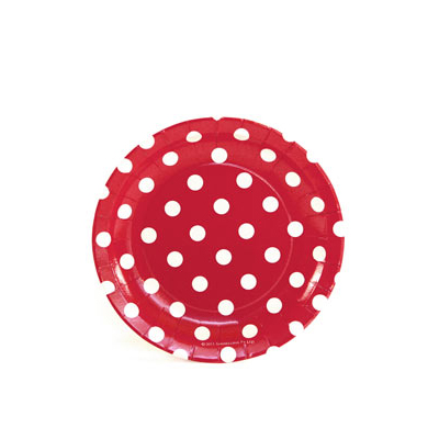 Sambellina Plates – Cake Plate – Red with White