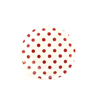 Sambellina Plates – Cake Plate – White with Red