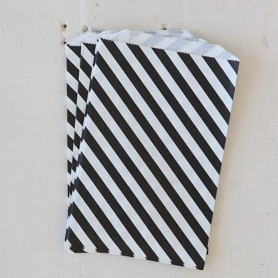 Diagonal Stripe Bigger Bitty Bag – Black