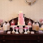 Elegant Pink and Grey Wedding Candy Table