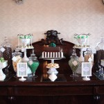 Green and Chocolate Wedding Candy Table