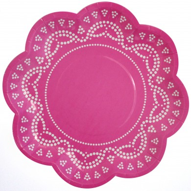 Lace Paper Plates &#8211; Dark Pink