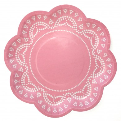Lace Paper Plates – Light Pink