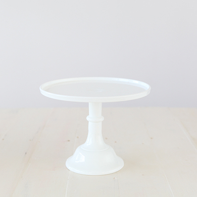 25cm Milk Glass Cake Stand – White
