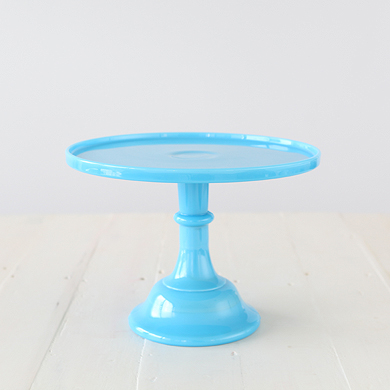 30cm Milk Glass Cake Stand – Blue