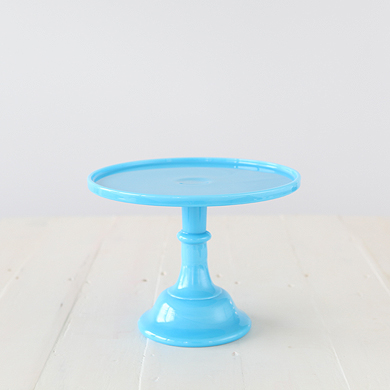 25cm Milk Glass Cake Stand – Blue