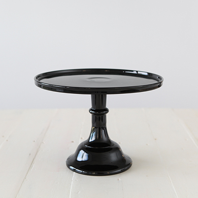 30cm Milk Glass Cake Stand – Black
