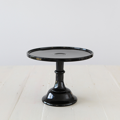 25cm Milk Glass Cake Stand – Black