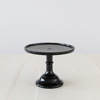 22cm Milk Glass Cake Stand – Black