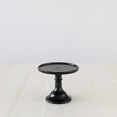 15cm Milk Glass Cake Stand – Black