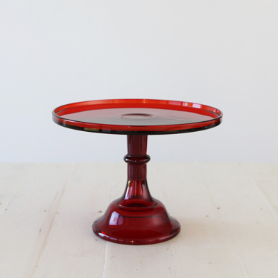 30cm Milk Glass Cake Stand – Red