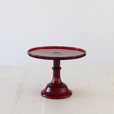 25cm Milk Glass Cake Stand – Red