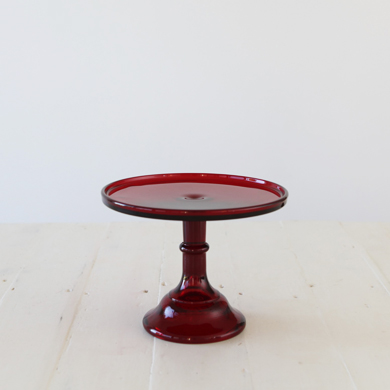 22cm Milk Glass Cake Stand – Red