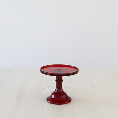 15cm Milk Glass Cake Stand – Red