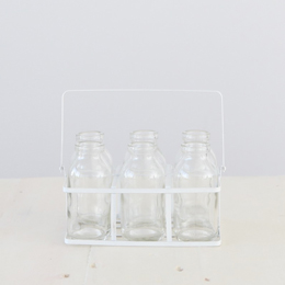 Glass Vintage Style Milk Bottles in Wire Crate &#8211; Set of 6