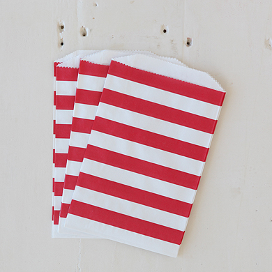Horizontal Stripe Favour Bags – Medium Red