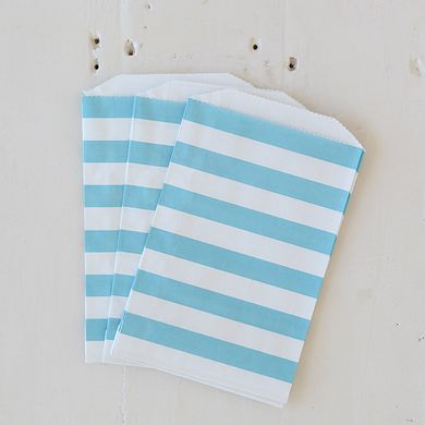 Horizontal Stripe Favour Bags – Medium Blue