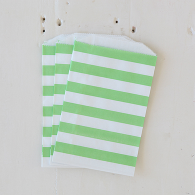 Horizontal Stripe Favour Bags – Medium Green