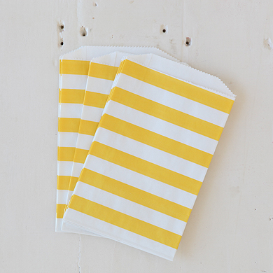Horizontal Stripe Favour Bags – Medium Yellow