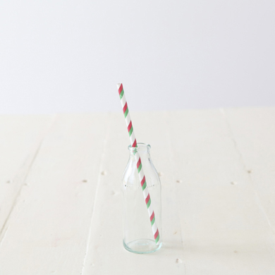 Paper Drinking Straws – Red, White and Green  Stripe