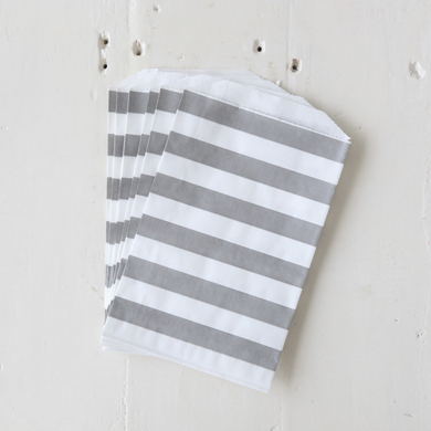 Horizontal Stripe Favour Bag – Medium Grey