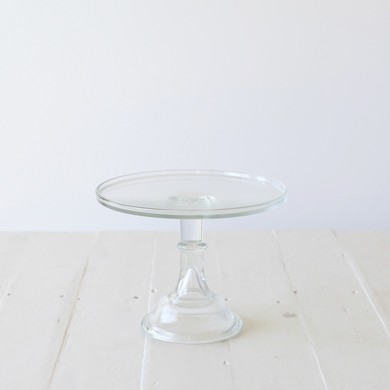 25cm Milk Glass Cake Stand – Clear