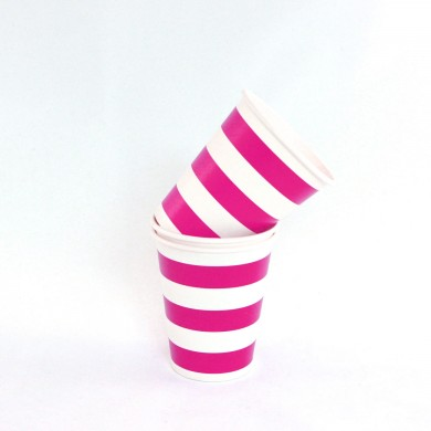 Cups – Candy Stripe Raspberry Pink