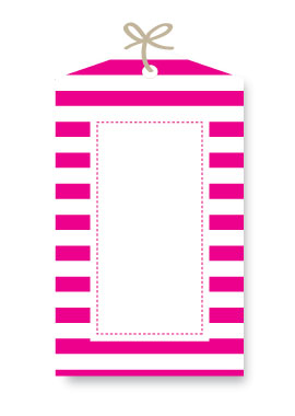 Sambellina Gift Tag Candy Stripe Raspberry