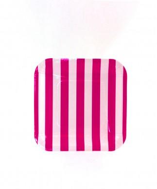 Sambellina Plates – Candy Stripe Raspberry Square