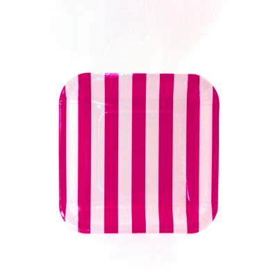 Sambellina Plates &#8211; Candy Stripe Raspberry Square