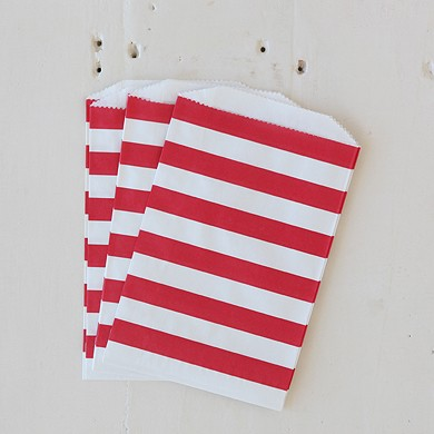 Horizontal Stripe Favour Bag – Medium Orange