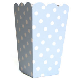 Tall Candy Box &#8211; Lt Blue Polka dot