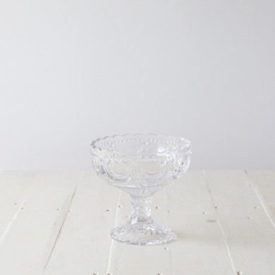 Petra Ornate Clear Glass Footed Bowl