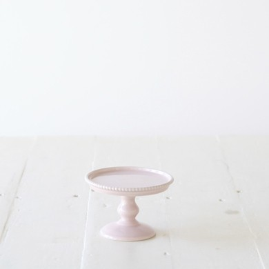 Small Beaded Pedestal Cake Stand – Pink