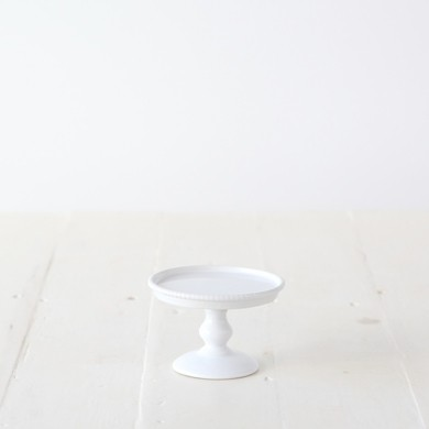 Small Beaded Pedestal Cake Stand – White